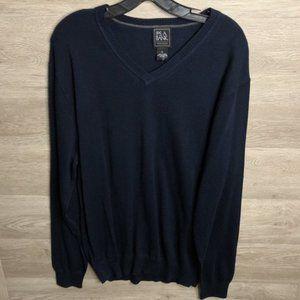 Joseph A Bank Traveler XL Pima Blue V Neck Sweater
